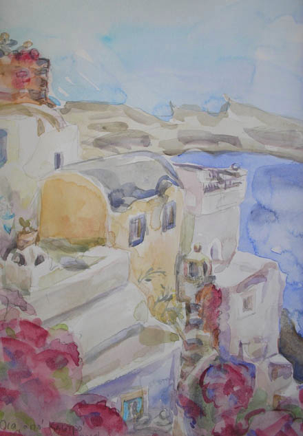 Watercolour greek landscape by Camille Marquand