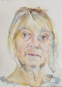 self portrait in watercolour by artist camille marquand