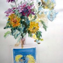 Chrysanthemums and Postcard